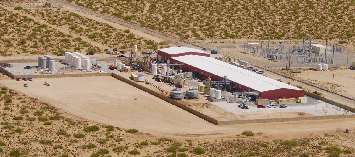 An aerial view of Enviro Water Minerals' Full Recovery Desalination Plant, which is adjacent to the Kay Bailey Hutchison Desalination Plant in El Paso. The company is developing a pilot project to take produced water from Permian Basin oil fields, extract the minerals for commercial markets, return the crude to producers and sell the remaining, now potable water, to municipalities or other entities.