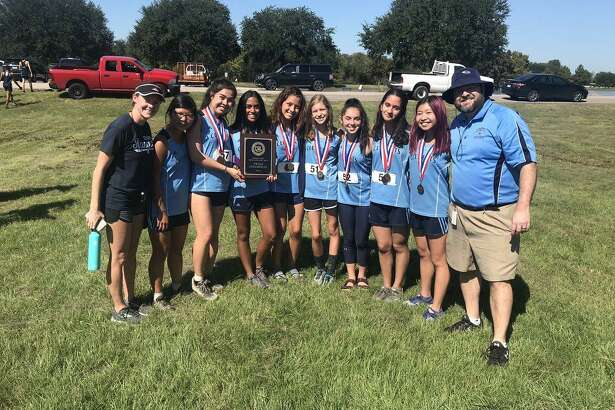 The Clements girls cross country team of Haley Harkrider, Vania Ortiz Marquez, Eleni Kaiser, Rida Khan, Aditi Mahesh, Alessandra Vannema and Janet Lee won the District 20-6A championship.