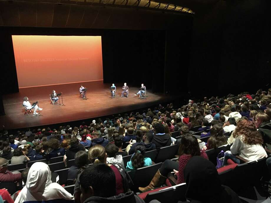 """450 local middle and high school students watched a performance of""""Beyond Sacred: Voices of Muslim Identity"""", an interview-based play about growing up Muslim post-9/11, at the University at Albany Performing Arts Center on Oct. 15, 2018. Photo: Mallory Moench/Times Union"""
