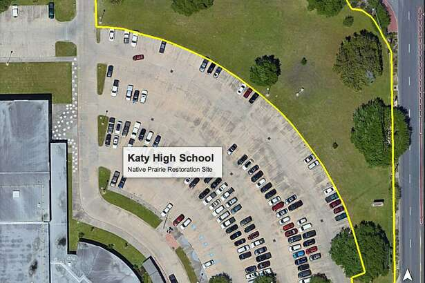 Here's an aerial view of the pocket prairie at Katy High School courtesy of the Wildlife Habitat Federation.