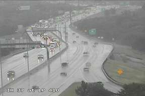 Traffic cameras show motorists are backed up on I-37 near Loop 410.