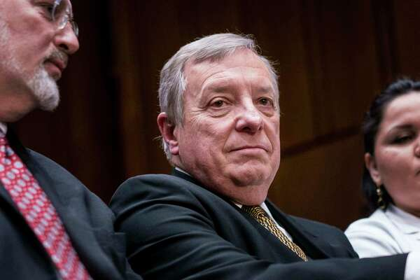 Sen. Dick Durbin, D-Ill., listens to questioning of Department of Homeland Security Secretary Kirstjen Nielsen at a Senate Judiciary Committee hearing on Jan. 16, 2018.
