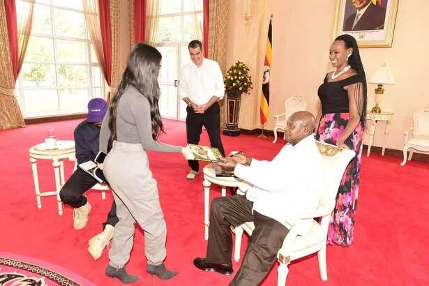 Kim Kardashian and PresidentYoweri Museveni, the five-term president of Uganda.