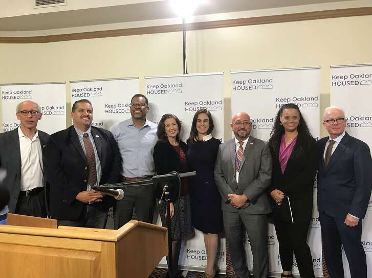 Oakland Mayor Libby Schaaf and executives from the San Francisco Foundation, East Bay Community Law Center, Catholic Charities of the East Bay, Bay Area Community Services and Kaiser Permanente East Bay speak about a new homelessness prevention initiative at a press conference in City Hall on Monday, Oct. 15, 2018.