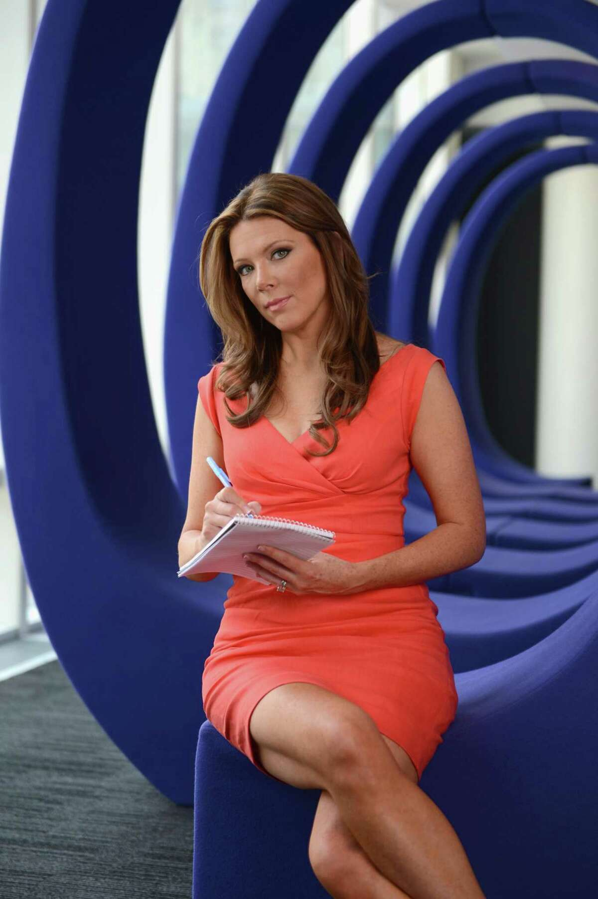 Trish Regan poses during the Resident Magazine May 2013 Cover Shoot at the Bloomberg Foundation Building in New York City.