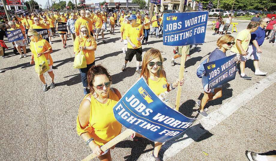 United Steelworkers of America and family members marched in solidarity at the annual Labor Day Parade last month in Granite City. The steelworkers were marching in part to express their desire for a fair contract during negotiations, which ended recently with a tentative agreement between the union and U.S. Steel Corp. announced Monday. Photo: John Badman   The Telegraph