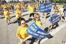 United Steelworkers of America and family members marched in solidarity at the annual Labor Day Parade last month in Granite City. The steelworkers were marching in part to express their desire for a fair contract during negotiations, which ended recently with a tentative agreement between the union and U.S. Steel Corp. announced Monday.