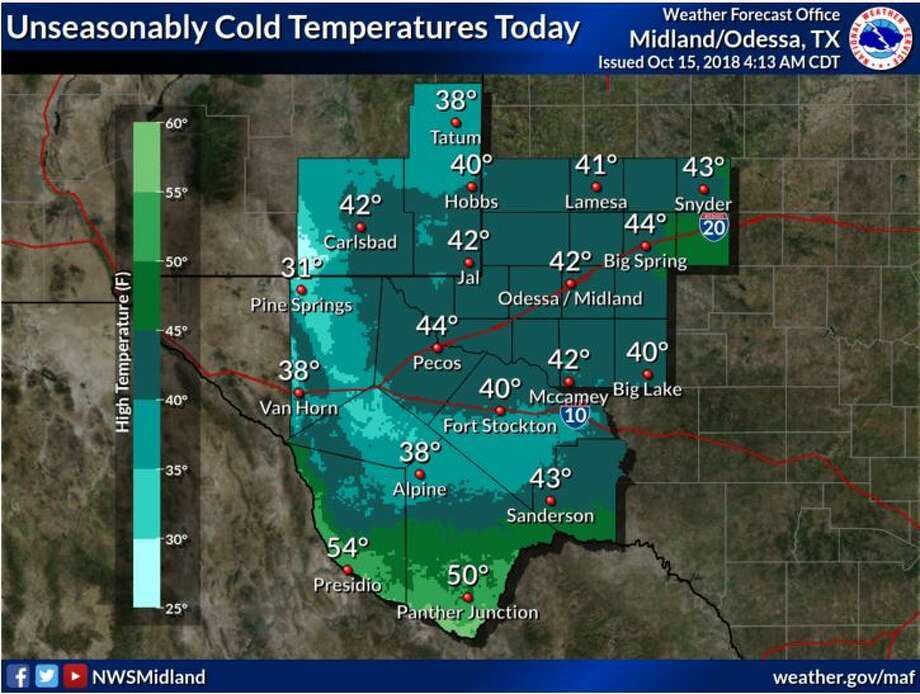 Cold temperatures today in the 30s and 40s with a few 50s along the Rio Grande.  Photo: National Weather Service