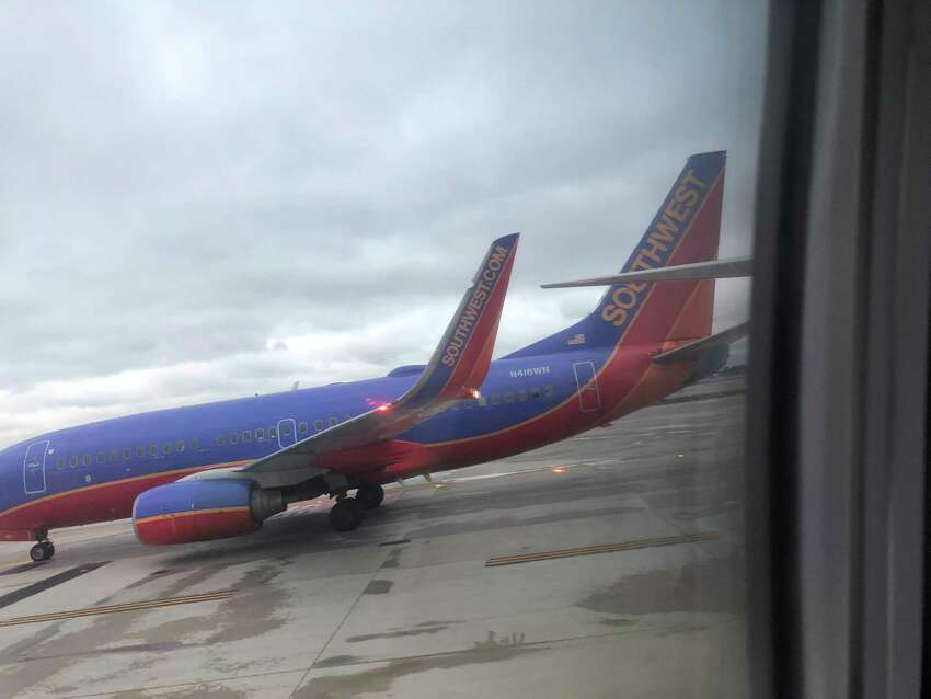 The left wingtip of a Southwest Airlines plane was damaged on Monday, Oct. 15, 2018, when two planes bumped at Chicago's Midway International Airport.