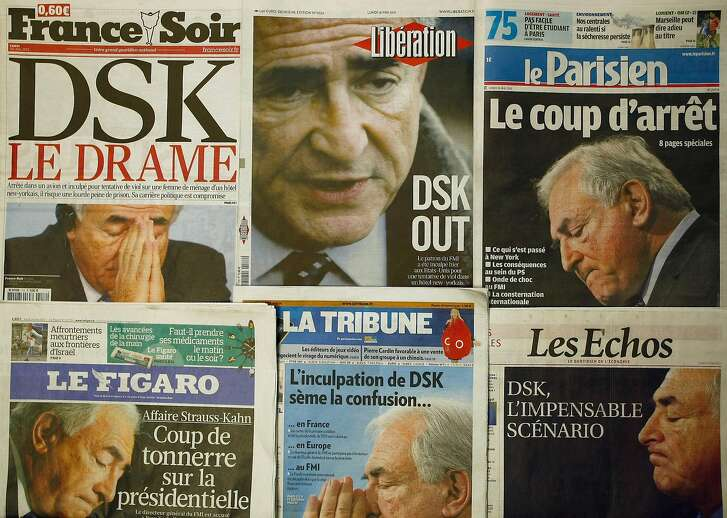 A collection of French newspapers displaying headlines referring to the head of IMF, Dominique Strauss-Kahn, in Paris, France, Monday, May 16, 2011.  The International Monetary Fund's managing director Dominique Strauss-Kahn is being held in U.S. on charges that he sexually assaulted a maid in his hotel room.  Headlines predict the end of the career of Dominique Strauss-Kahn (DSK).   (AP Photo)