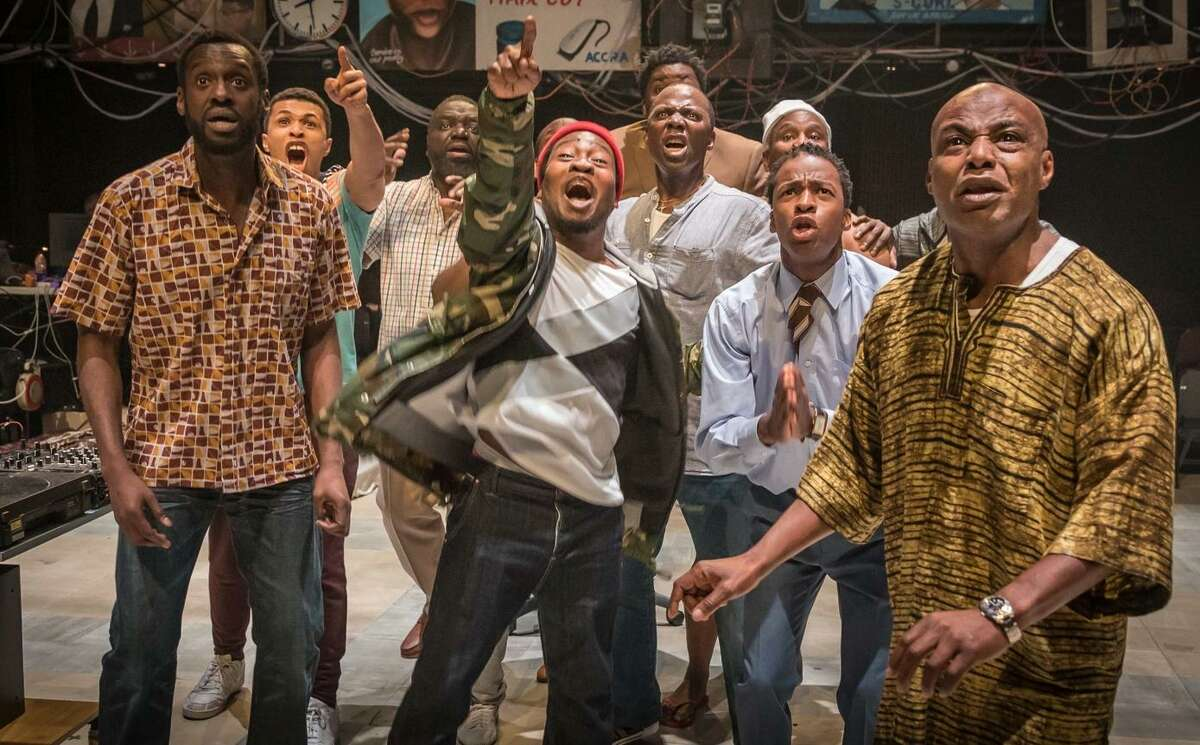 """Need combo cap, we do not have IDs for the individual actors: Above: The cast of """"Barber Shop Chronicles,"""" a co-production of Fuel, the National Theatre, and West Yorkshire Playhouse. At right: Poet and playwright Inua Ellams, the show's creator."""