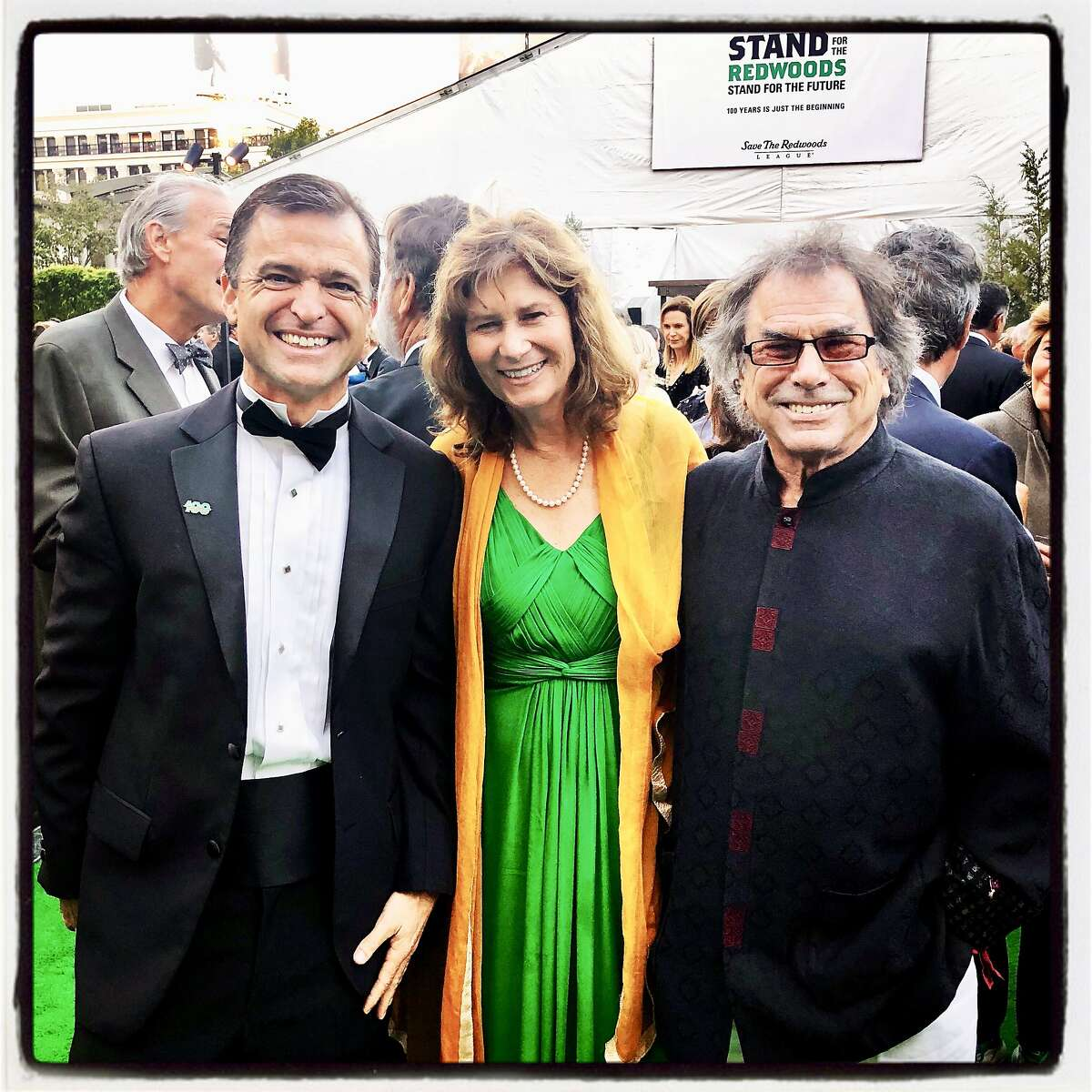 Save the Redwoods League CEO Sam Hodder (left) with trustee Carla Hart and her husband, musician Mickey Hart. Oct. 13, 2018.