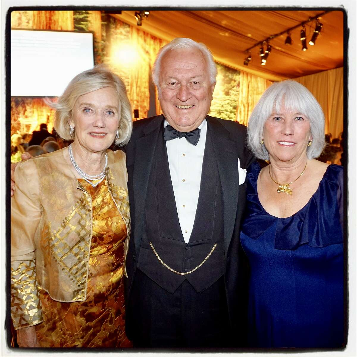 Redwoods League gala honorary chair Judy Otter (left) with her husband, Dick Otter and event chair Sandra Donnell. Oct. 13, 2018.