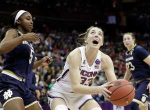UConn's Katie Lou Samuelson (33) heads to the basket against Notre Dame last season