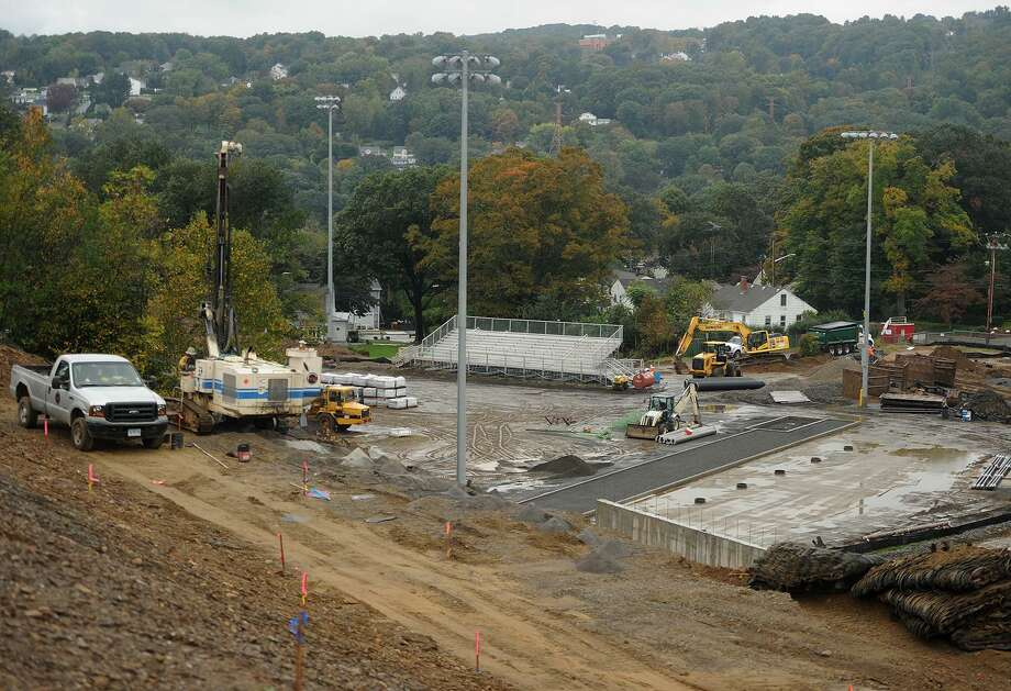 Construction continues on the new Derby High School athletic complex in Derby, Conn. on Monday, October15, 2018. This year's annual Ansonia-Derby rivalry football game will be played in Oxford due to the construction. Photo: Brian A. Pounds / Hearst Connecticut Media / Connecticut Post