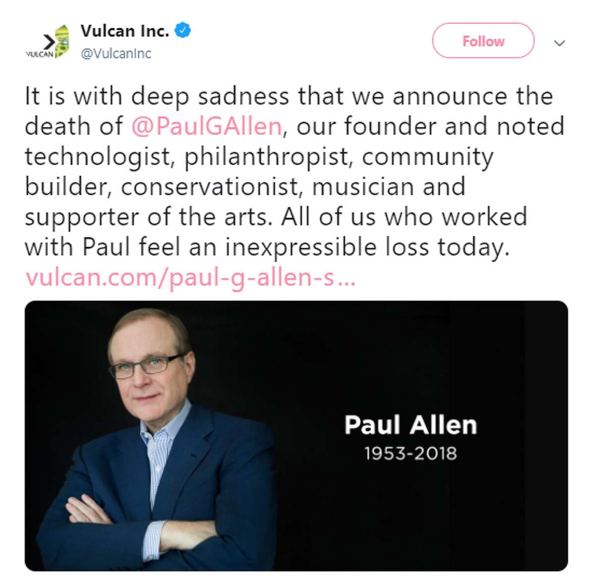 Paul Allen died on October 15, following complications in treating his non-Hodgkin's lymphoma, which he announced had returned at the beginning of October.