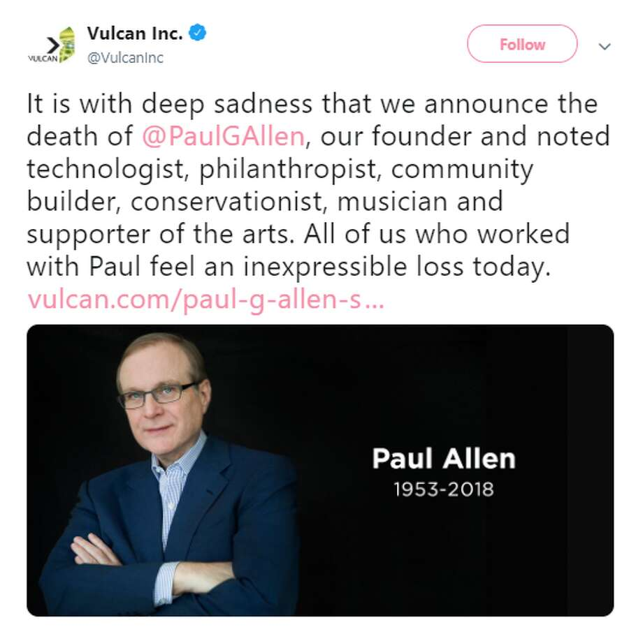 Paul Allen died on October 15, following complications in treating his non-Hodgkin's lymphoma, which he announced had returned at the beginning of October. Photo: Twitter Screenshot