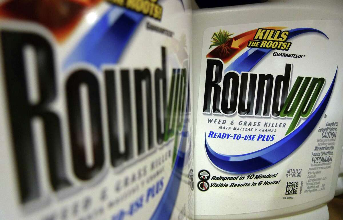 In this June 28, 2011, file photo, bottles of Roundup herbicide, a product of Monsanto, are displayed on a store shelf in St. Louis. A San Francisco jury on Friday, Aug. 10, 2018, ordered agribusiness giant Monsanto to pay $289 million to a former school groundskeeper dying of cancer, saying the company's popular Roundup weed killer contributed to his disease.