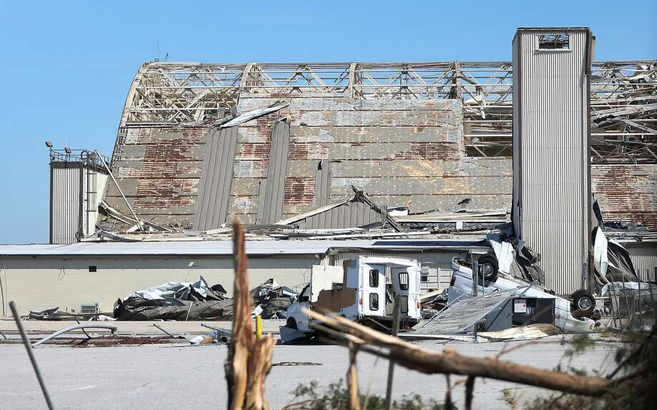 A damaged airplane hanger is seen on the grounds of Tyndall Air Force Base  after Hurricane Michael passed through the area on October 12, 2018 in Mexico Beach, Florida. The hurricane hit the panhandle area with category 4 winds causing major damage. Photo: Joe Raedle/Getty Images