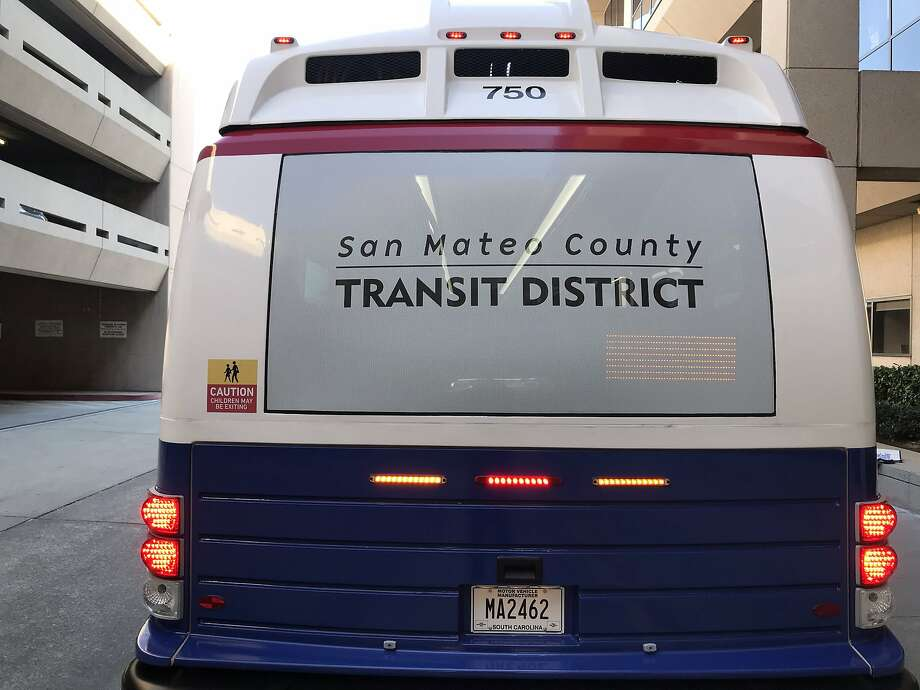 Rear view of a new SamTrans electric bus. Photo: Handout, Courtesy SamTrans