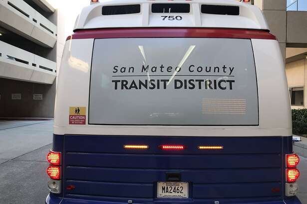 Rear view of a new SamTrans electric bus.