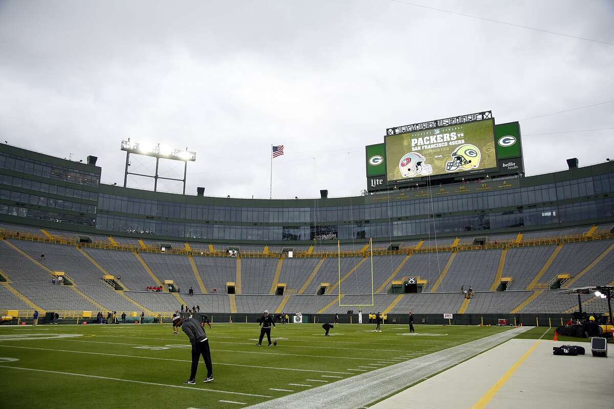Lambeau Field before an NFL football game between the Green Bay Packers and the San Francisco 49ers Monday, Oct. 15, 2018, in Green Bay, Wis. (AP Photo/Matt Ludtke)