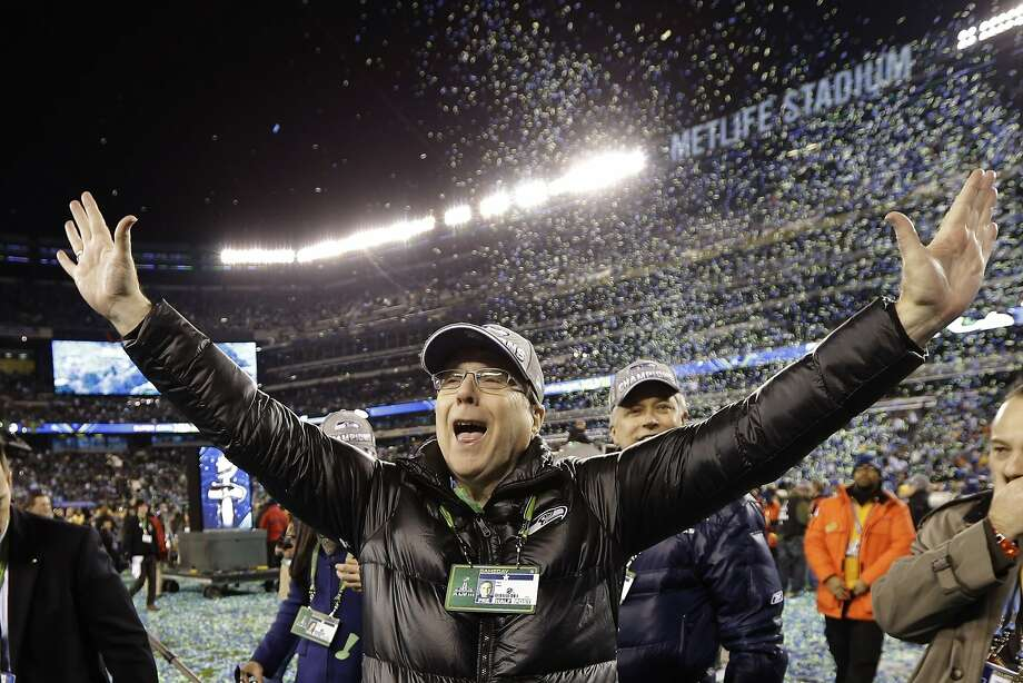 FILE - In this Feb. 2, 2014 file photo, Seattle Seahawks owner Paul Allen celebrates after the NFL Super Bowl XLVIII football game against the Denver Broncos in East Rutherford, N.J. The Seahawks won 43-8. Allen, billionaire owner of the Trail Blazers and the Seattle Seahawks and Microsoft co-founder, died Monday, Oct. 15, 2018 at age 65. Earlier this month Allen said the cancer he was treated for in 2009, non-Hodgkin's lymphoma, had returned.  (AP Photo/Mark Humphrey, File) Photo: Mark Humphrey, Associated Press