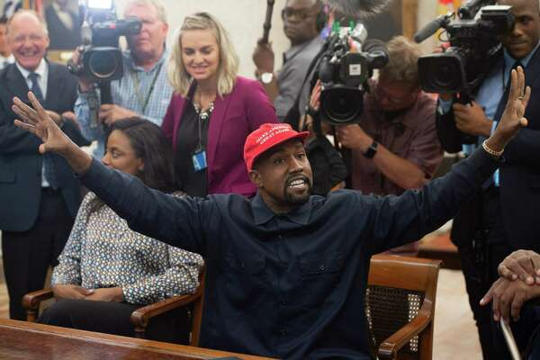Kanye West meets with President Donald Trump in the Oval Office of the White House Thursday. His comments were bizarre.