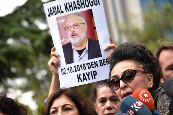 Protestors demonstrate at the entrance of Saudi Arabia consulate over the disappearance of Saudi journalist Jamal Khashoggi, on Oct. 9, 2018, in Istanbul. The journalist disappeared a week ago after entering Saudi Arabia's consulate to obtain paperwork required for marriage to his Turkish fiancee. Turkish officials have alleged he was killed in the compound while Saudi officials say he left the building unharmed. (Depo Photos/Zuma Press/TNS)