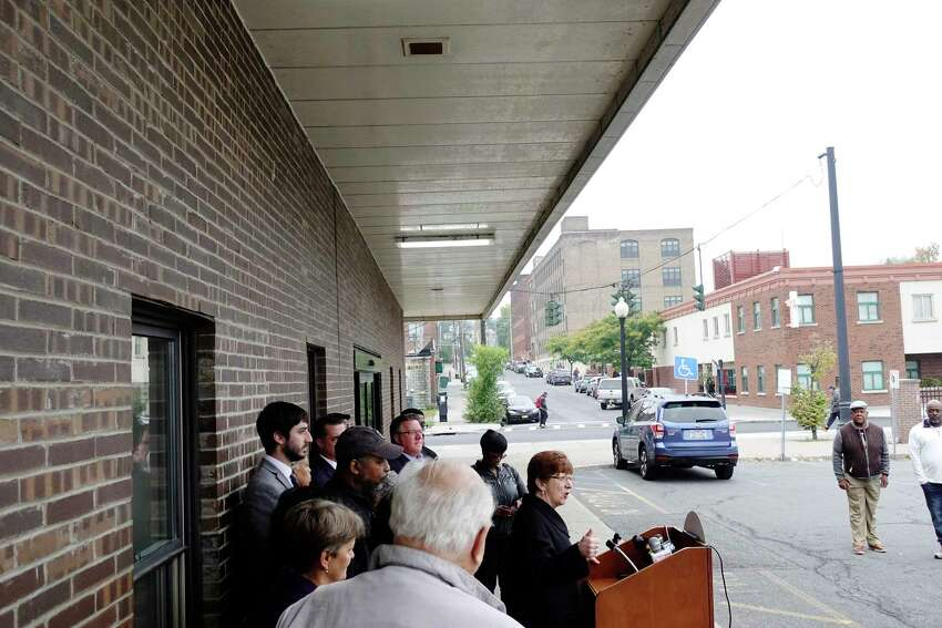 Albany Mayor Kathy Sheehan addresses those gathered for a press conference outside the New York State Department of Motor Vehicles office on South Pearl Street on Monday, Oct. 8, 2018, in Albany, N.Y. Elected officials and community leaders gathered to denounce statements by the Albany County Board of Elections Republican Elections Commissioner, Rachel Bledi, who said that the South End is a Obad, dangerous neighborhoodO. (Paul Buckowski/Times Union)