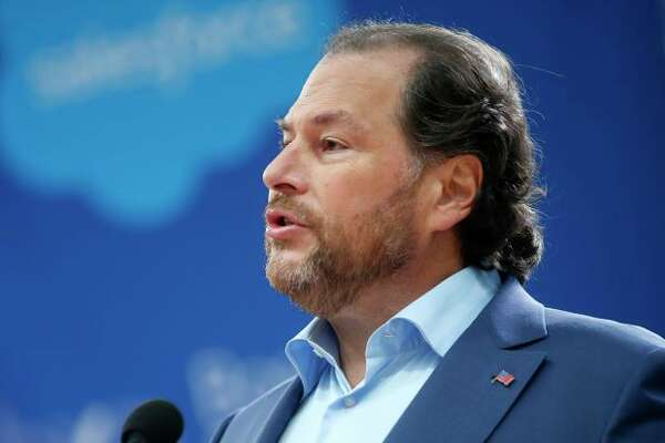 Salesforce founder and CEO Marc Benioff is urging tech leaders to fight homelessness. (Karl Mondon/Bay Area News Group via Getty Images)