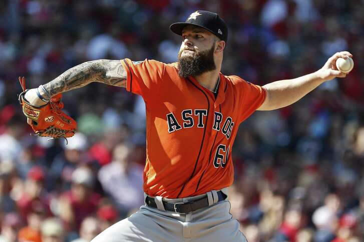 Houston Astros pitcher Dallas Keuchel pitches against the Cleveland Indians during the first inning of Game 3 of the American League Division Series at Progressive Field on Monday, Oct. 8, 2018, in Cleveland.