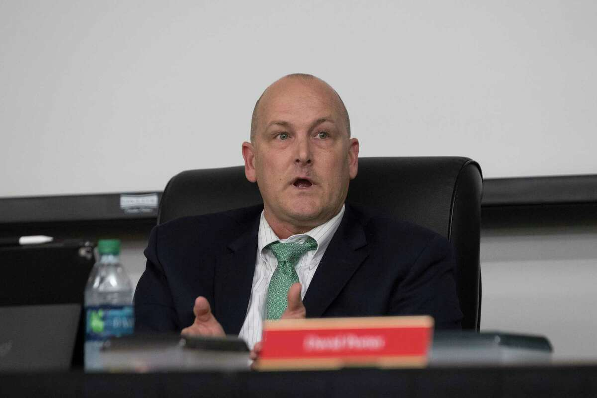 >>>See which Texas districts declared a financial emergency. Crosby Independent School District superintendent Dr. Scott Davis speaks during a board meeting, Monday, Oct. 15, 2018, in Crosby.