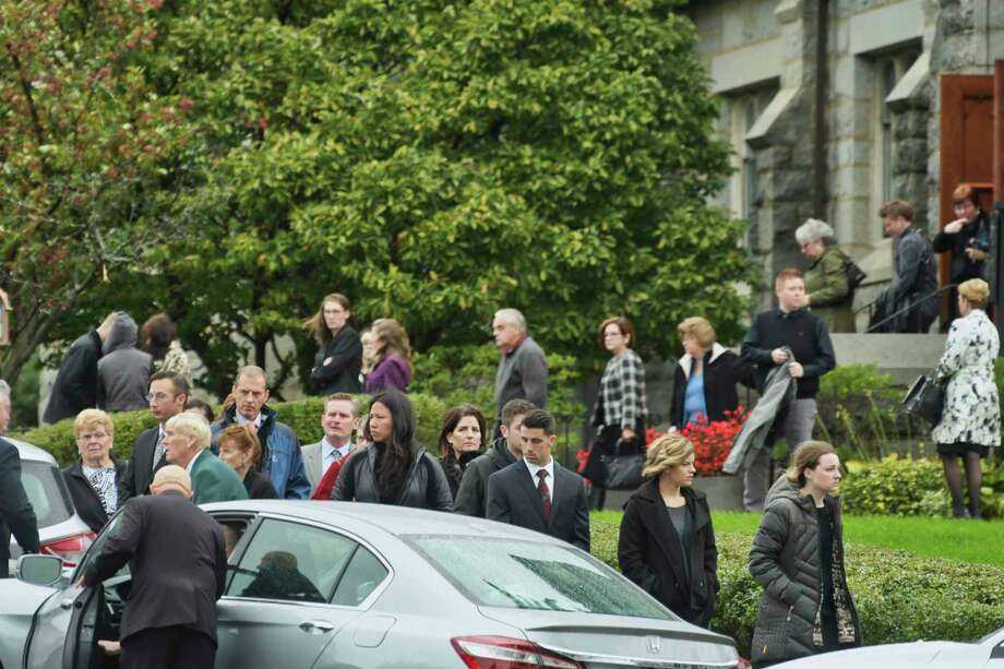 Mourners leave St. Mary of the Assumption Church following a memorial mass for Rachael Cavosie on Monday, Oct. 15, 2018, in Waterford, N.Y. Cavosie was killed in the limousine crash in Schoharie.  (Paul Buckowski/Times Union) Photo: Paul Buckowski / (Paul Buckowski/Times Union)