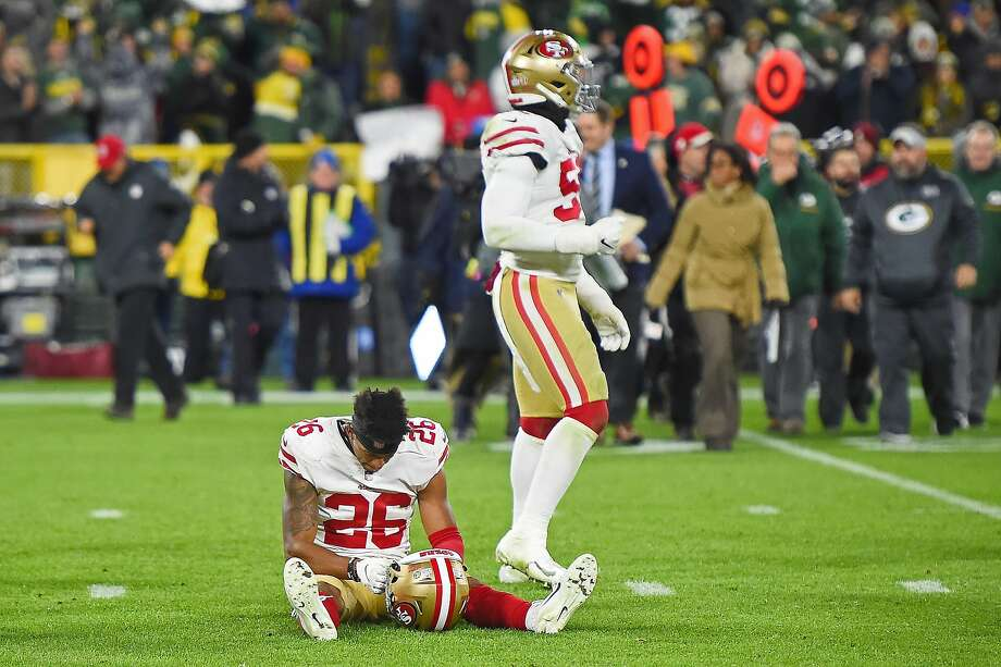 0280d1e07 Greg Mabin  26 of the San Francisco 49ers reacts after a game winning field  goal