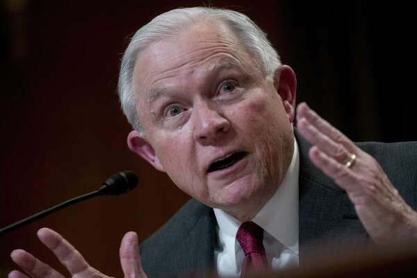 Attorney General Jeff Sessions speaks during a Senate Appropriations Subcommittee hearing in Washington on April 25, 2018.
