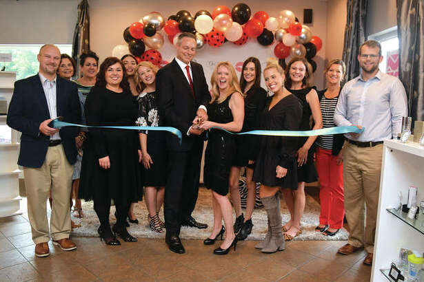 Members of the Edwardsville/Glen Carbon Chamber of Commerce joined the staff at Ooh La La Spa on October 10, 2018 in celebration of 10 years in business. Dr. Kristen Jacobs and Dr. Robert Wise are featured along with staff and chamber ambassadors. Ooh La La Spa is located at 110 Cottonwood Road in Glen Carbon.