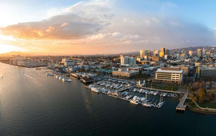 An aerial view of Jack London Square in Oakland, California, on Friday, Sept. 26, 2014.