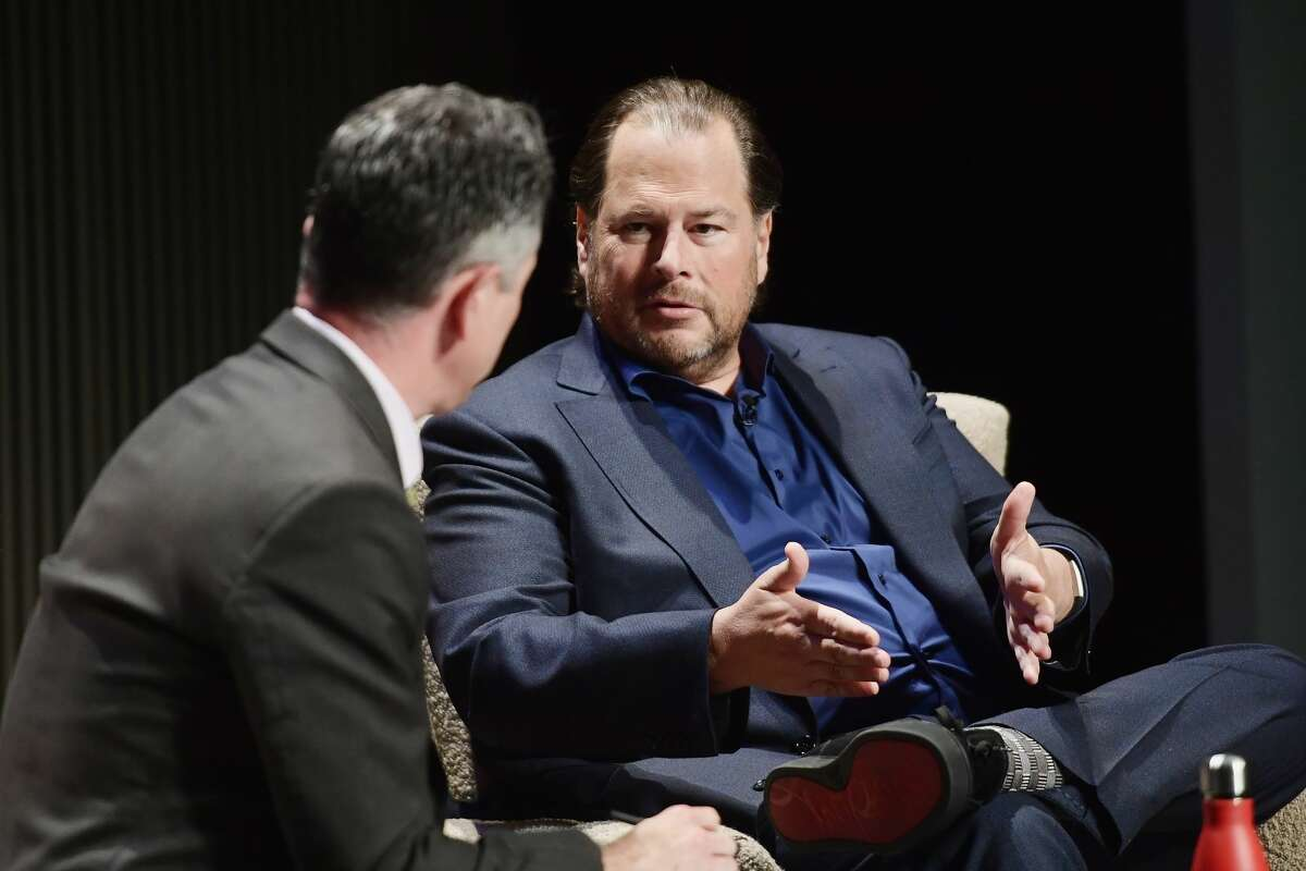 Adam Rogers and Marc Benioff speak onstage at WIRED25 Summit: WIRED Celebrates 25th Anniversary With Tech Icons Of The Past & Future on October 15, 2018 in San Francisco, California.