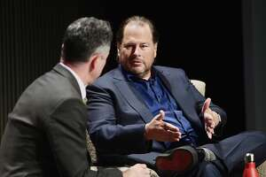 SAN FRANCISCO, CA - OCTOBER 15:  Adam Rogers and Marc Benioff speak onstage at WIRED25 Summit: WIRED Celebrates 25th Anniversary With Tech Icons Of The Past & Future on October 15, 2018 in San Francisco, California.  (Photo by Matt Winkelmeyer/Getty Images for WIRED25  )