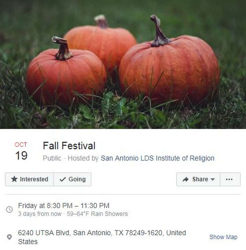 San Antonio LDS Institute of Religion Fall Festival Oct. 19, 8:30 - 11:30 p.m. San Antonio LDS Institute of Religion, 6240 UTSA Boulevard