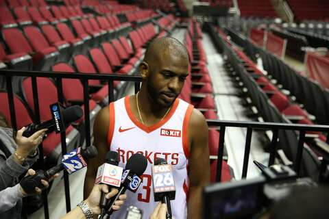 6f5a7f66463  p Houston Rockets  Chris Paul wears the team s new jersey with the ROKiT