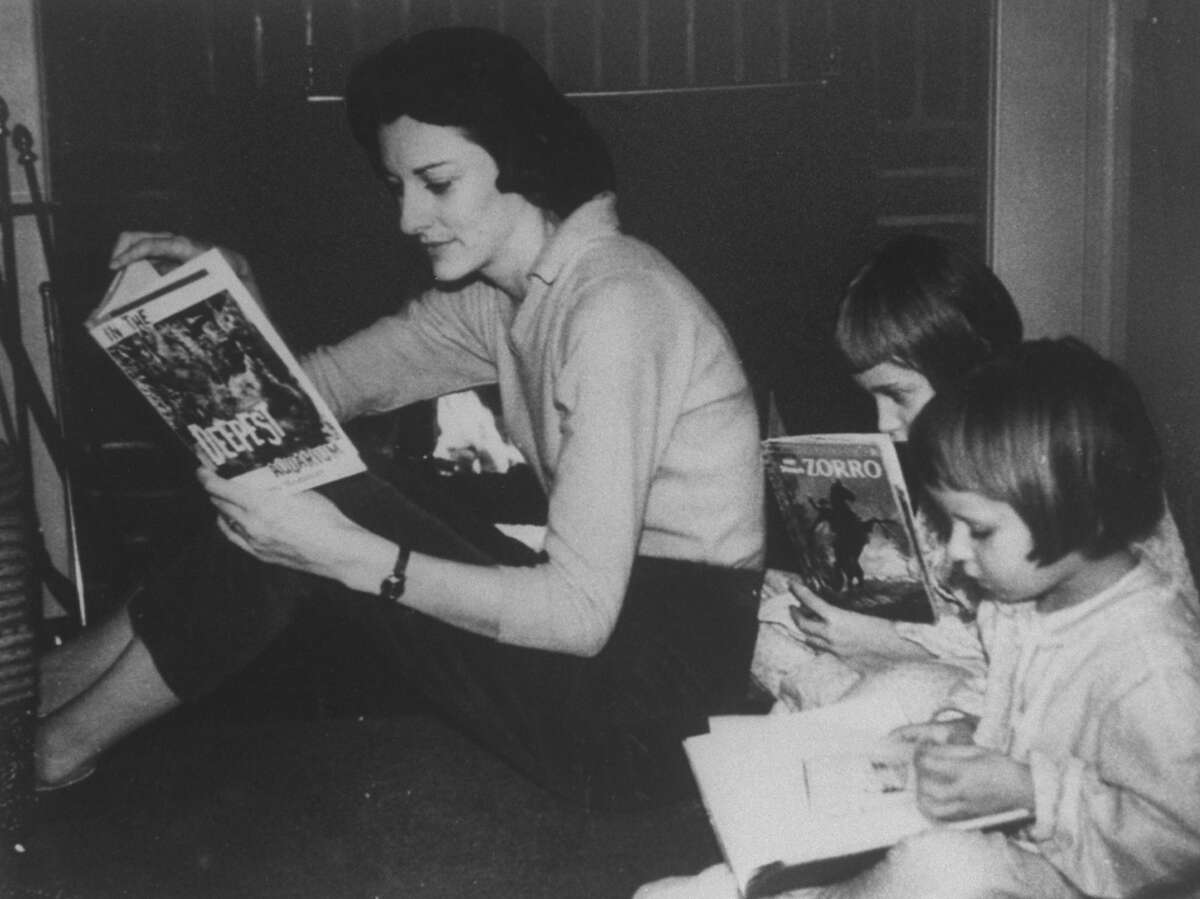 Sexton with her daughters, Joy, 3, and Linda, 5. Linda would become her mother's literary executor at age 21.