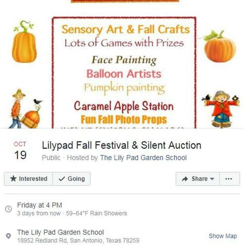 Lilypad Fall Festival & Silent Auction Oct. 19, 4 p.m. The Lily Pad Garden School, 18952 Redland Road