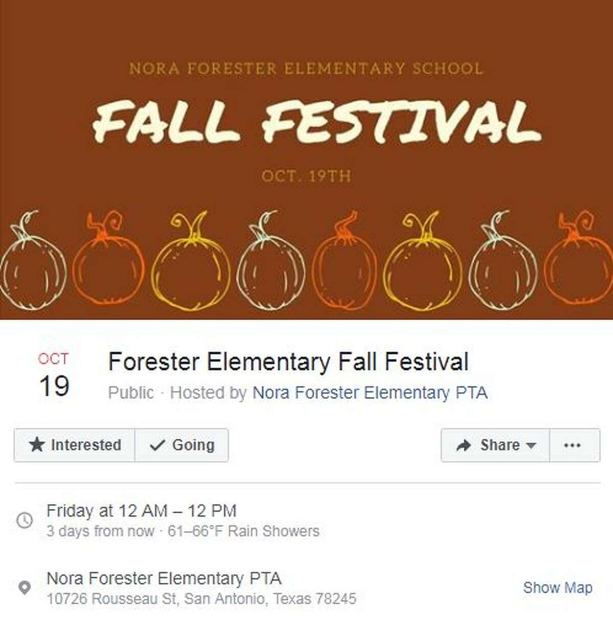 Forester Elementary Fall Festival Oct. 19, 12 a.m. - 12 p.m. Nora Forester Elementary PTA, 10726 Rousseau Street