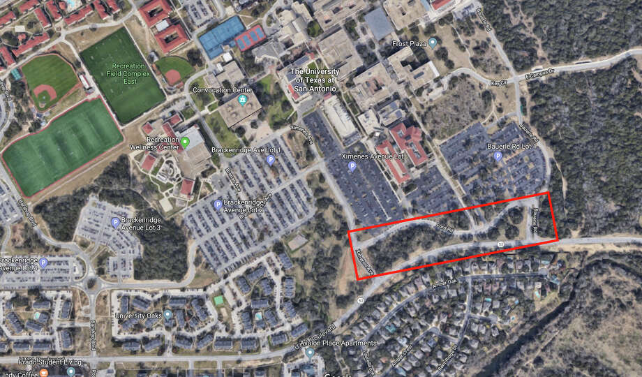 The Roadrunner Village is expected to be built on 20 acres the university owns along UTSA Boulevard between Ximenes and Bauerle. Officials envision casual dining, a grocery store and entertainment venues in the village. Photo: Google Maps