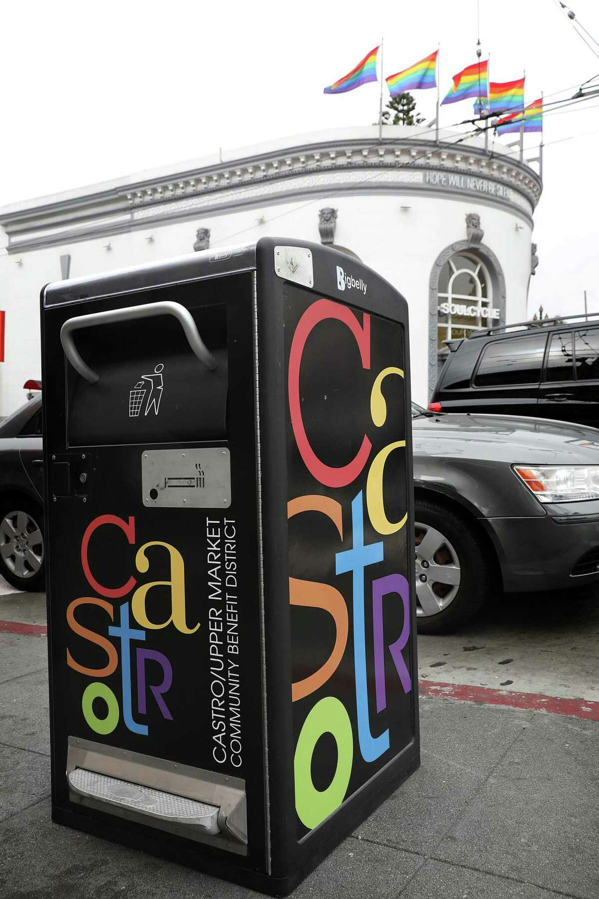 View of the new Bigbelly garbage can seen on Castro Street on Monday, Aug. 13, 2018 in San Francisco, Calif.