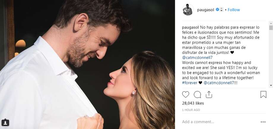 paugasol: Words cannot express how happy and excited we are! She said YES!! I'm so lucky to be engaged to such a wonderful woman and look forward to a lifetime together! #forever @catmcdonnell7!!! Photo: Instagram Screengrab