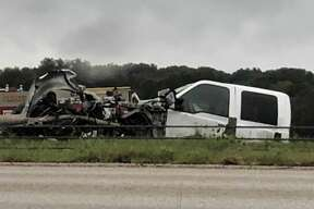 The crash occurred at about 9:18 a.m., when a driver headed eastbound in the 29000 block of I-10 near Fair Oaks Parkway hydroplaned and crossed over the center median, through the cable barrier and into oncoming traffic, officials said.