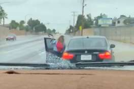 An El Paso woman stopped her son in traffic and beat him with a belt after the 14-year-old stole the woman's BMW to see his girlfriend.